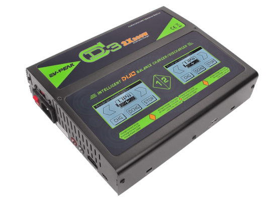 EV-Peak CD3 Dual Port 2-Channel Touch Screen (25Amps / 200Watts Each Port, 400Watts Total): LiPo, LiHV, LiIon, LiFe, NiCd, NiMh, Pb AC/DC Balancing Battery Multicharger EVPF0307