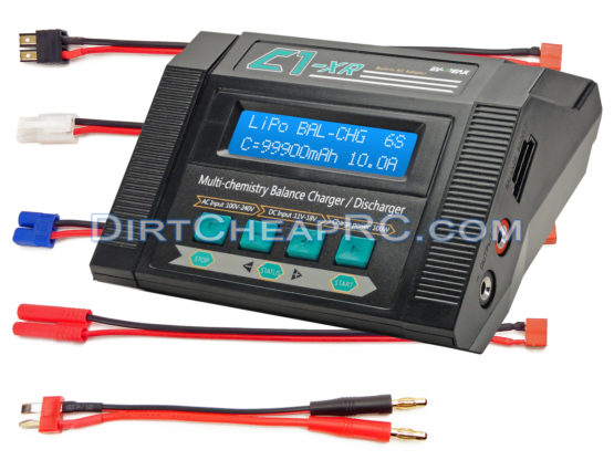 C1-XR CAR (10Amps, 100Watts): LiPo, LiHV, LiIon, LiFe, NiCd, NiMh, Pb AC/DC Multi-Chemistry Balancing Battery Charger w/ Internal Resistance (IR), Terminal Voltage Control (TVC) & Battery Meter (Deans Traxxas Tamiya HXT4.0mm Redcat EC3 Plugs)