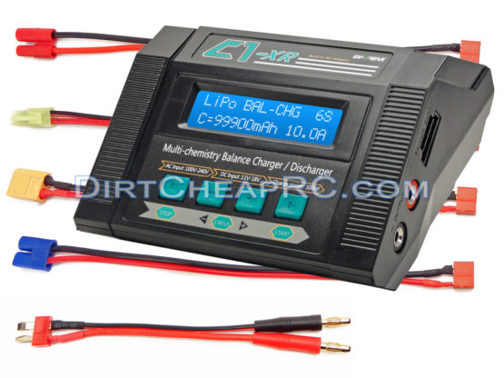 C1-XR AIR (10Amps, 100Watts): LiPo, LiHV, LiIon, LiFe, NiCd, NiMh, Pb AC/DC Multi-Chemistry Balancing Battery Charger w/ Internal Resistance (IR), Terminal Voltage Control (TVC) & Battery Meter (Deans XT60 EC3 Tamiya Mini HXT3.5mm Walkera Plugs)