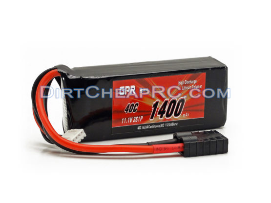 GPR Battery 11.1V 1400mAh 3S Cell 40C-80C LiPo Battery Pack w/ Traxxas High Current Style Connector: 1/16 E-Revo VXL, 1/16 Summit VXL GPR3S1440
