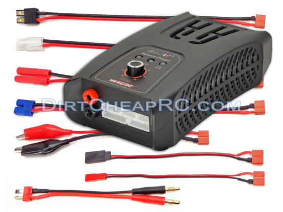 HTRC HTR5012 H6 CAR (5Amps, 50Watts): LiPo, LiFe, NiMH, NiCd AC/DC 2S-6S Balancing Battery Charger w/ Deans T-Plug, Traxxas, Tamiya/Molex, HXT4.0mm Redcat, EC3, Futaba Rx, JST & Alligator Clips (HT-0082)