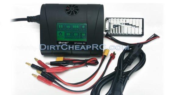 HTRC HT100 Touch Screen 2S-6S (10Amps, 100Watts): LiPo, LiHV, LiFe, Li-Ion, NiMH, NiCd, Pb, Smart I/II/III AC/DC Balancing Battery Charger w/ Deans T-Plug & XT60 Cables + Universal Balance Board (JST-XH, TP/FP, EH, HP/PQ) HT-01 HTR5021