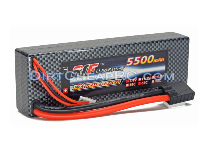 7.4V 5500mAh 2S Cell 65C HardCase LiPo Battery Pack w/ Traxxas High Current Style Connector (RTF)