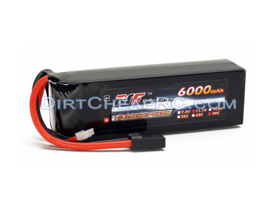 L&E 11.1V 6000mAh 3S Cell 90C Hardened Soft Case LiPo Battery Pack w/ Traxxas High Current Style Connector LND3S6090