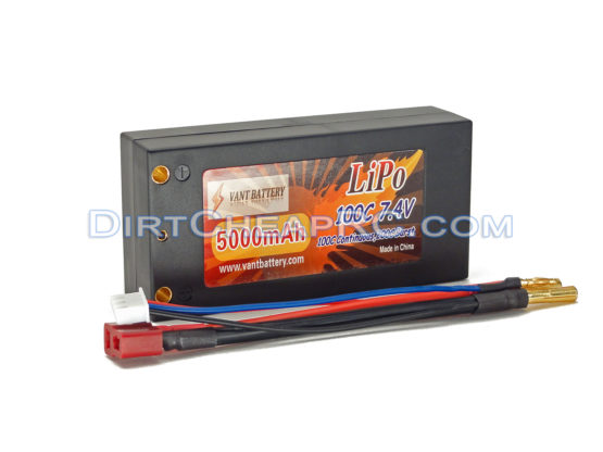 7.4V 5000mAh 2S Cell 100C-200C Shorty HardCase LiPo Battery Pack w/ Solid 4mm Bullet & Deans Ultra Connector