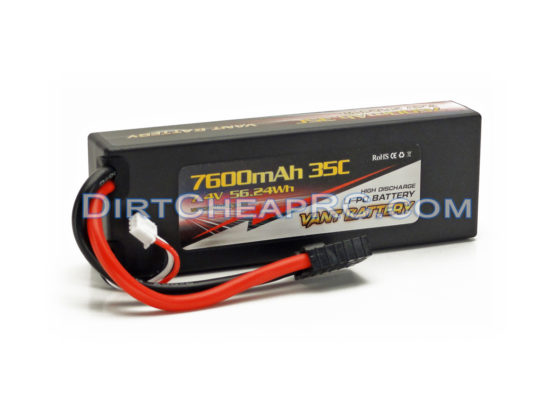 Vant Battery 7.4V 7600mAh 2S Cell 35C-70C HardCase LiPo Battery Pack w/ Traxxas High Current Style Connector VAN2S7635
