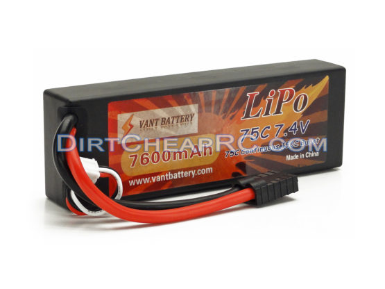 Vant battery 7.4V 7600mAh 2S Cell 75C-150C HardCase LiPo Battery Pack w/ Traxxas High Current Style Connector VAN2S7675t