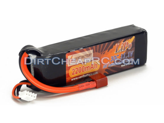 11.1V 2200mAh 3S Cell 30C-60C LiPo Battery Pack w/ Deans Ultra Connector T-Plug (Align T-Rex 450 Plane Heli Quad Drone)