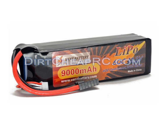 11.1V 9000mAh 3S Cell 60C-120C LiPo Battery Pack w/ Traxxas High Current Style Connector (X-Maxx