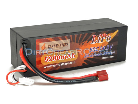 14.8V 5200mAh 4S Cell 50C-100C HardCase LiPo Battery Pack w/ Deans Ultra Connector