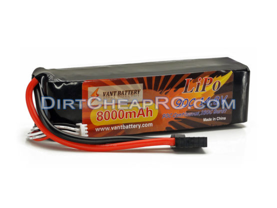 Vant Battery 14.8V 8000mAh 4S Cell 90C-180C LiPo Battery Pack w/ Traxxas High Current Style Connector (X-Maxx 8S) VAN4S8090