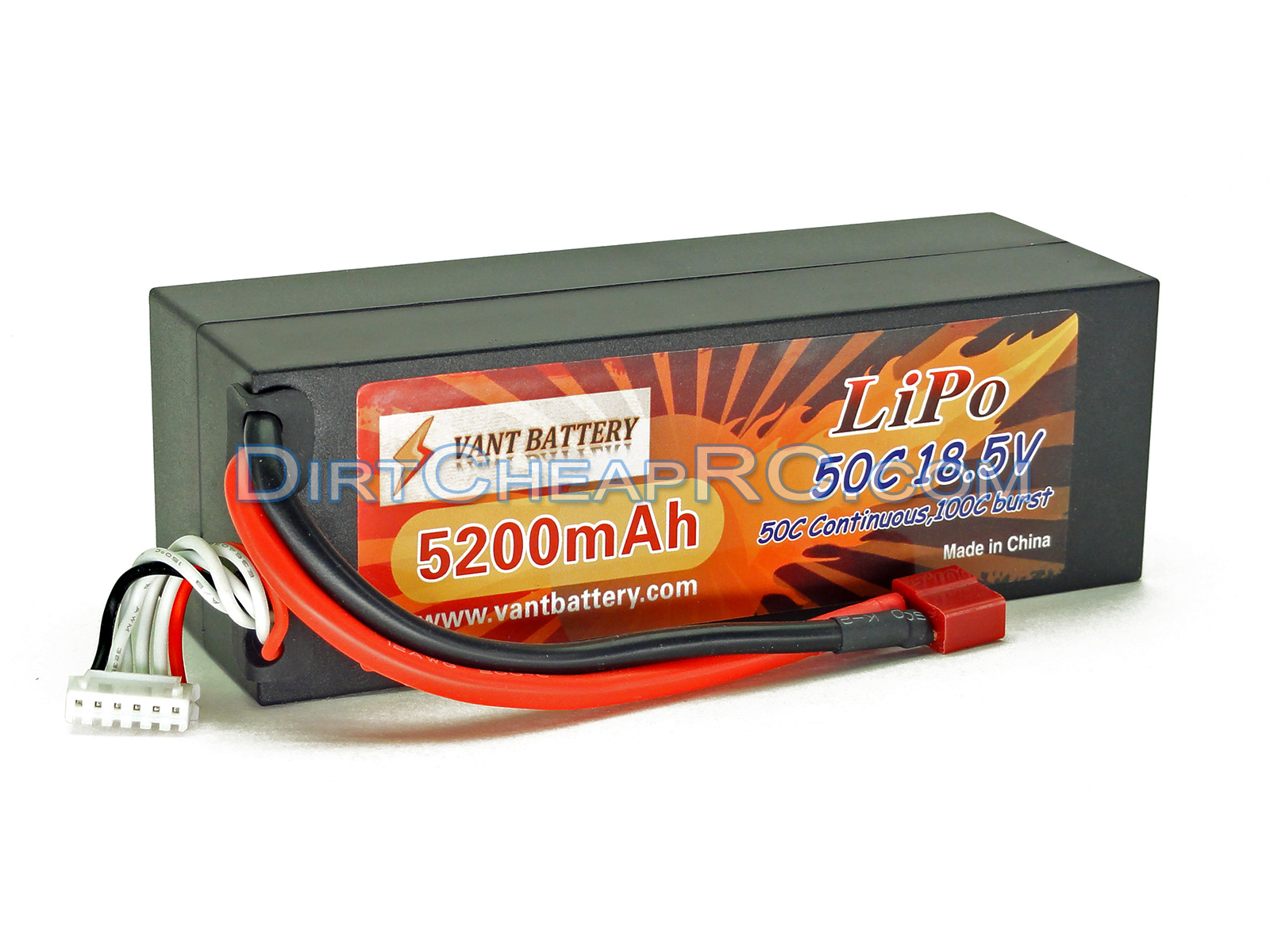 18 5V 5200mAh 5S Cell 50C-100C HardCase LiPo Battery Pack w/ Deans Ultra  Connector